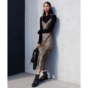 NEW All Saints Leopard Midi Slip Dress Revolve